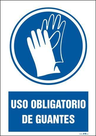 Cartel Obligatorio Usar Guantes 22x26