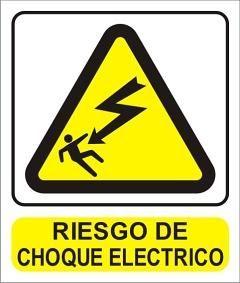 Cartel Riesgo Choque Eléctrico 22x26cm