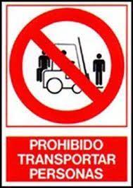 Cartel Prohibido Transportar Personas 22x26 cm