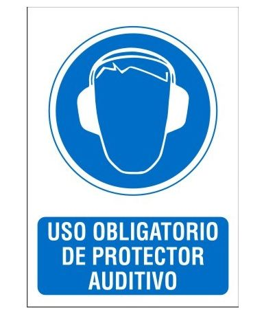 cartel uso de protector auditivo