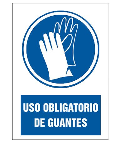 cartel uso de guantes